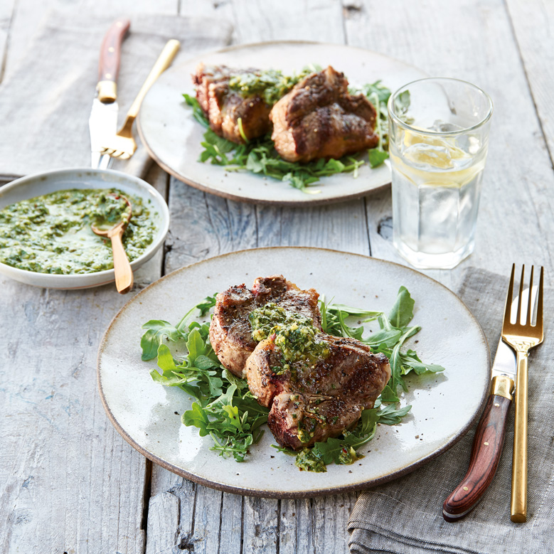 Lamb loin chops with lemon-mint salsa verde